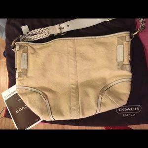 Coach bag 10x14 authentic  natural canvas leather